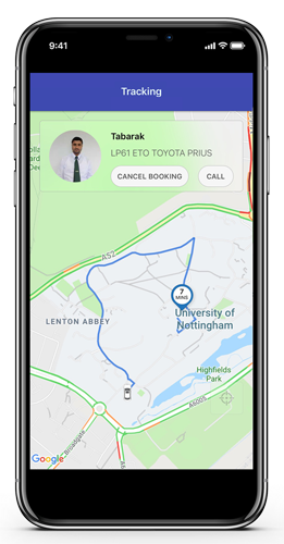Track the arrival of your taxi